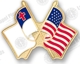 Superior MEN Of God And Country Lapel Pin Featuring Both The American And Christian  Flags
